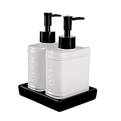 Wentao 3 Piece Withe Ceramic Bath Accessory Set Liquid Soap or Lotion Dispenser -  - bathroom-accessory-sets, bathroom-accessories, bathroom - 410iP1x1VDL. SS400  -
