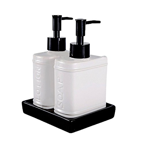 Soap Lotion Caddy (Wentao 3 Piece Ceramic Bath Accessory Set Liquid Soap or Lotion Dispenser)