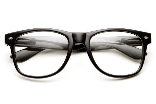 MLC EYEWEAR ® RETRO NERD Geek Oversized BLACK Framed Non Prescription Clear Lens Glasses with Cleansing - Non Prescription Black Framed Glasses