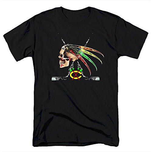 Jung Chicago Hawks Skull Men's T Shirt (XL)