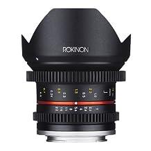 Rokinon CV12M-E 12mm T2.2 NCS CS Ultra Wide Angle Cine Lens for Sony E-Mount-NEX Cameras with De-Clicked Aperture and Follow Focus Compatibility, Black