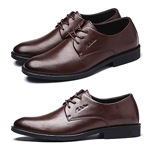Colore 41 Wedding Mens Mens Casual Shoes Lace Dress dimensioni In Up Brown Brown Scarpe Pelle Business Men LXLA Head Round For a1xqwSx