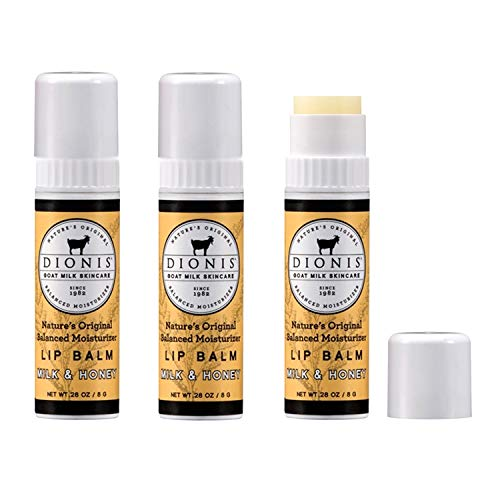 Dionis Goat Milk Lip Balm 3 Piece Gift Set (Milk & Honey, 3 Piece) ()