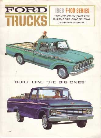 1963 FORD F100 TRUCK Sales Brochure Literature Book