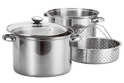 8Qt Quart Stainless Steel 4pc Stock Pot w/ Deep Pasta Multi Cooker & Steamer