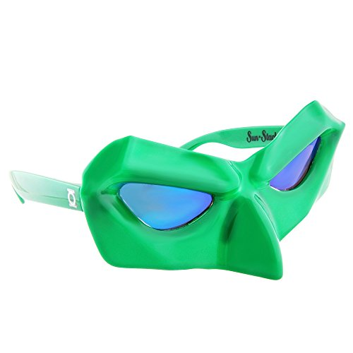 Sun-Staches Costume Sunglasses Green Lantern Party Favors UV400 (Lantern Green Glass)