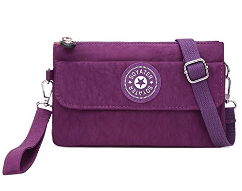 Kecartu Women's Small Water-resistant Nylon Crossbody Messenger Bag Dual Layers Wristlet Clutch Purse Purple by Kecartu