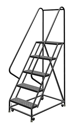 "Tri-Arc KDSR105246 5-Step Steel Rolling Industrial and Warehouse Ladder with Handrails and 24"" Wide Perforated Tread"
