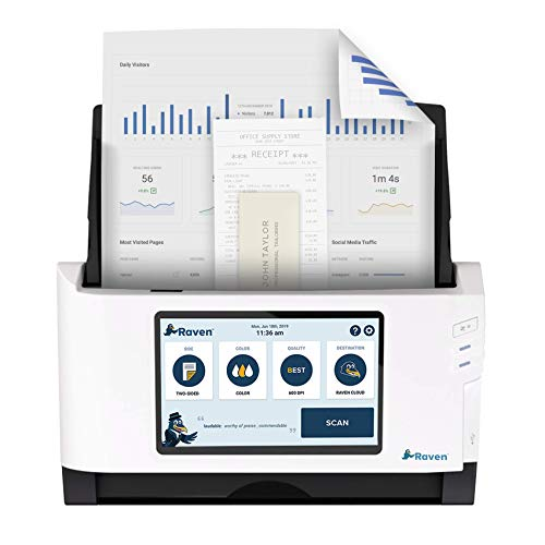 Raven Original Document Scanner - Huge LCD Touchscreen, Color Two Sided Wireless Scanning Direct to Cloud, Automatic Document Feeder (ADF), Wi-Fi, Ethernet, USB