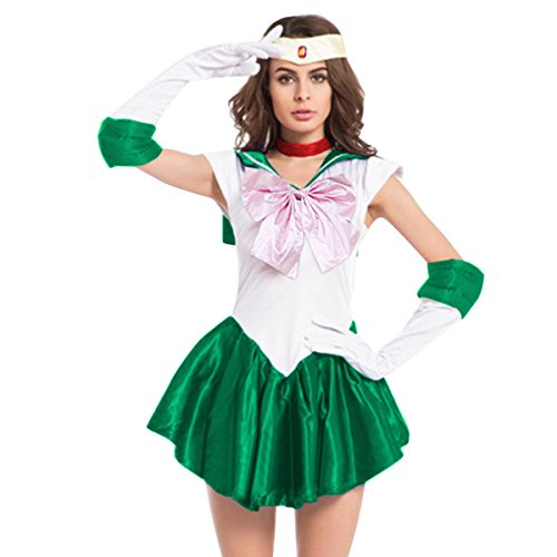 Quesera Women's Sailor Moon Costume Mercury Mars Fancy Dress Halloween Cosplay Outfit, Green, TagsizeM=USsizeXS