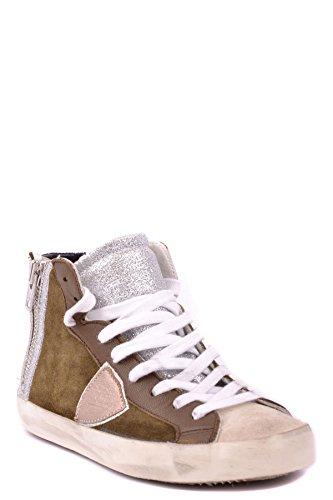 Philippe Model Hi Top Sneakers Donna MCBI238038O Camoscio Argento/Marrone
