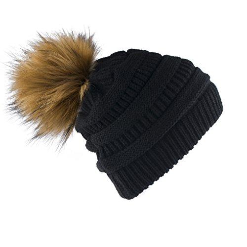 Yetagoo Slouchy Winter Knit Beanie Cap Chunky Faux Fur Pom Pom Hat Bobble Ski Cap