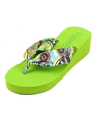 Femmmes Chaussures Confortables Tongs Sandales épaisse Summens Vert et Croûte 1Sax66f
