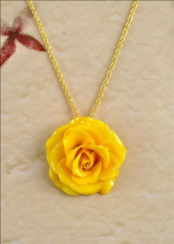Amazon real flower rose pendant necklace blossom in yellow jewelry real flower rose pendant necklace blossom in yellow mozeypictures Image collections