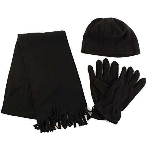Winter Men's 3pc Fleece Set Beanie Cap Hat Gloves Fringe Scarf Gift Set (Football Fleece Scarf)