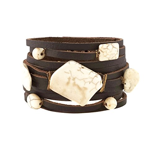 (Semi Precious Stone Turquoise Leather Bracelet Button Closure (White))