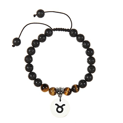 Meibai Handmade 8mm Lava Rock Tiger Eye Natural Stone Beads Bracelet with Constellation Zodiac Sign Charm Adjustable Size (Taurus)