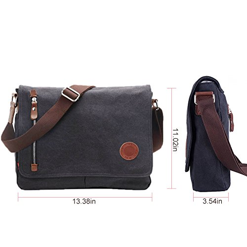 DricRoda Vintage Canvas Briefcase Cross Body Shoulder Bag,Large Capacity Messenger Laptop Satchel Bag with Durable Adjustable Cotton Braided Shoulder Strap for Laptops up to 10 Inches,Black by DricRoda (Image #4)