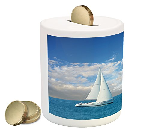 Ocean Piggy Bank By Ambesonne  Modern Sail Boat On Sea Horizon Cloudy Sky Summer Sports Hobbies Photo Image  Printed Ceramic Coin Bank Money Box For Cash Saving  Sky Blue And White