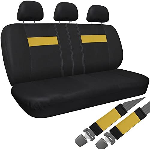OxGord Cloth Mesh Bench Seat Covers Universal Fit for Car, Truck, SUV, Van – Yellow