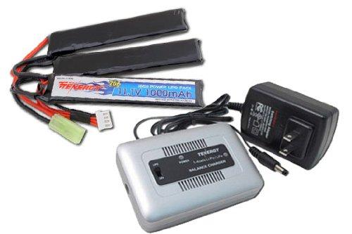 Combo: Tenergy 1-4 Cells Li-PO/Li-Fe Balance Charger + Tenergy 11.1V 1000mAh Li-Po Airsoft Crane Stock Battery Pack