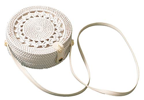 Handwoven Round Rattan Bag Shoulder Leather Straps Natural Chic Hand Gyryp (Leather buttons(white wreath))