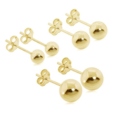 3 Pair Set of Sterling Silver Round Ball Stud Earrings, Includes 5mm-7mm (yellow-gold-plated-silver) - 7mm Ball Yellow Gold Earrings