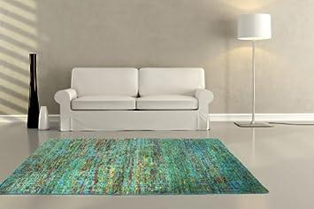 Teppich grün blau  Teppich Teppiche Handarbeit Kurzflor Sari Seide Natur Vintage Grün ...