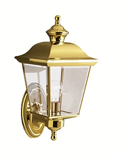Kichler Wall Brass Polished (Kichler 9712PB Bay Shore Outdoor Wall 1-Light, Polished Brass)