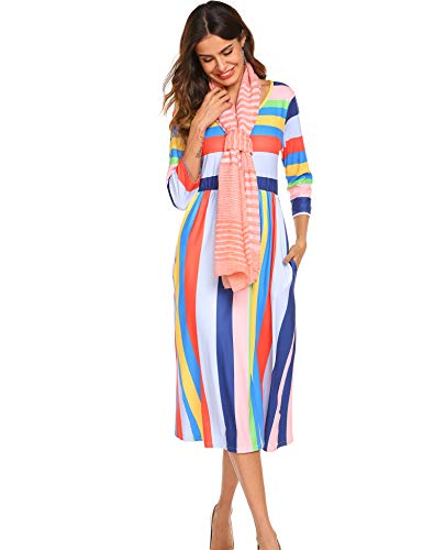 Women's Rainbow Striped Floral Print 3/4 Sleeve Midi Dress with Pockets ()