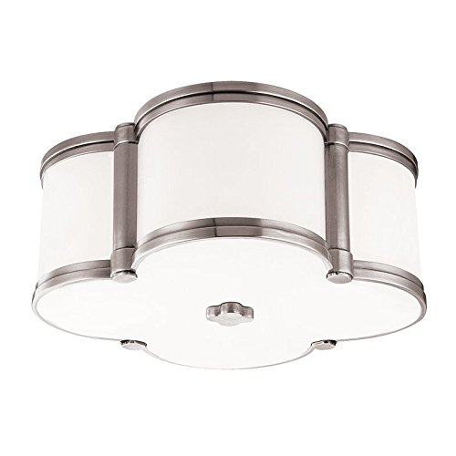 Chandler 2-Light Flush Mount - Polished Nickel Finish with Clear/White Glass Shade - Hudson Valley Ceiling Fan