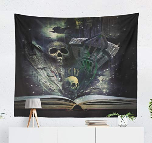 YGUII Fantasy-Landscape Wall Tapestry,Tapestry Wall Hanging Open Story Book with Halloween Book Scary Ghost Horror Fantasy Surreal Wall Decor for Bedroom Living Room Tablecloth Dorm 150150cm(60