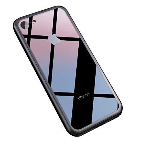 描写私たちのたるみYUYIB iPhone6 ケース クリア iPhone6s ケース 強化ガラスケース 薄 背面強化ガラス×ハイブリッドケース かわいい ストラップホール付き 耐衝撃 全面保護 携帯カバー (iPhone6/iPhone6s, クリアガラス+黒パンバー)