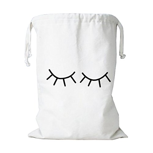 Wujee Canvas Toy Storage Bag - Clothes Gift Organizer Container - Space Saver Packing Bag for Home Office Travel (Eyelash)