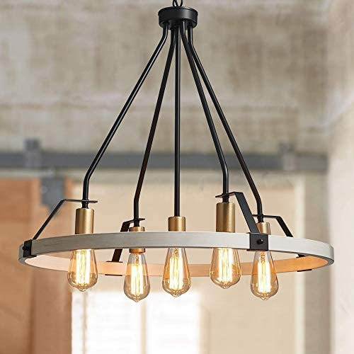 Amazon Com Bestier Wagon Wheel Chandelier 5 Lights Farmhouse Light Fixture In Painted White Wood Color Gold Black Metal Finish 30 Rustic Kitchen Island Dining Pendant Lighting Home Improvement