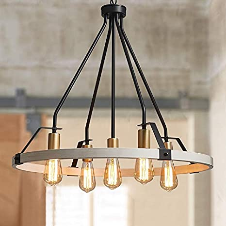 Bestier Wagon Wheel Chandelier 5 Lights Farmhouse Light Fixture In Painted White Wood Color Gold Black Metal Finish 30 Rustic Kitchen Island Dining Pendant Lighting