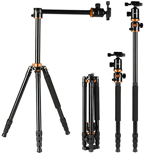 K&F Concept Camera Tripod 66 Inch 4 Section Professional Tripods with 360 Degree Ball Head Quick Release Plate Compatible with Camera DSLR (Orange)