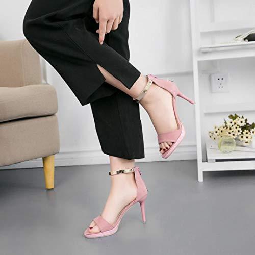 Fête Chaussures avec Aiguille de Mode EU Rose PU Ouvert Talons Sexy Sandales Cheville Escarpin Femme Zipper Mariage 34 38 Stilettos Escarpin Solike Bout Soirée à en xwPnR0qxY