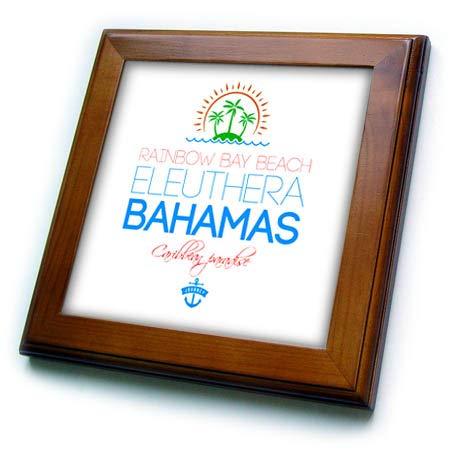(3dRose Alexis Design - Caribbean Beaches Bahamas - Rainbow Bay Beach, Eleuthera, Bahamas. Summer Vacation Gift, Souvenir - 8x8 Framed Tile (ft_318380_1))