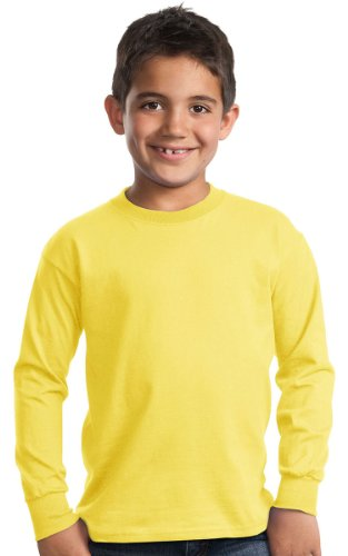 Port & Company - Youth Long Sleeve Essential T-Shirt XS Yellow