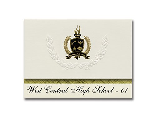 Premium West Sd Card (Signature Announcements West Central High School - 01 (Hartford, SD) Graduation Announcements, Presidential style, Elite package of 25 with Gold & Black Metallic Foil seal)