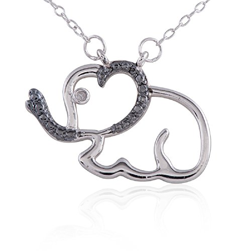 Pendant Accent Diamond Elephant (Sterling Silver Rhodium Plated Diamond Accent Elephant Pendant Necklace, 18