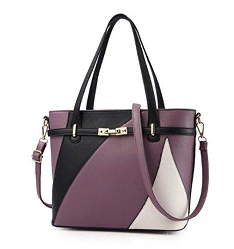 La mujer bolsos de cuero Bolsos Bolso Bolso Casual mujer femenina bolsos Patchwork principales señoras Bolsos Borgoña Lavender