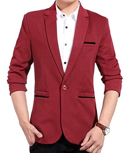 Giacca Primavera Libero Slim Saoye Casual Button Lunghe Uomo Blazer Fashion Rot 1 Maniche Business Fit Autunno Giacche Suit Giovane Tempo A ZrZEwgAqOx
