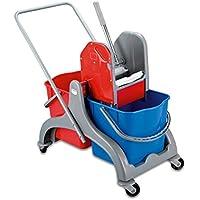 Temizlik Arabası Plastik Çift Kovalı Lüx presli Temizlik Seti - 77595376