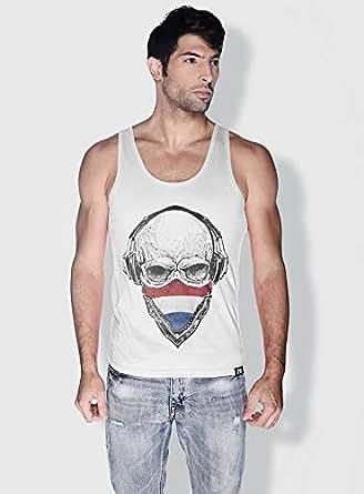 Creo Holland Skull Tanks Tops For Men - M, White