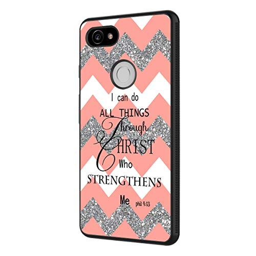 Google Pixel XL Case,BOSLIVE Bible Verse Psalm 46:5 Coral Glitter Chevron Canvas Background Design TPU Slim Anti-Scratch Protective Cover Case for Google Pixel XL]()