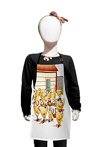 Lunarable Chicken Kids Apron, Flock of Hens in a Farm Eating from Food Bowls Colorful Cartoon Style Illustration, Boys Girls Apron Bib with Adjustable Ties for Cooking Baking and Painting, Multicolor ()