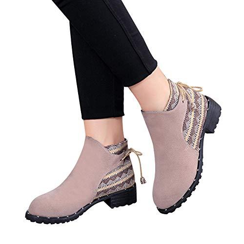 Botas Botas con OHQ De Medio Baja Mujer Beige Martin De Flcok Correr Zapatillas Boots Zapatillas De Gimnasia Zapatos Cremallera Casuales Botas Mujer Tubo ffPq0rg8