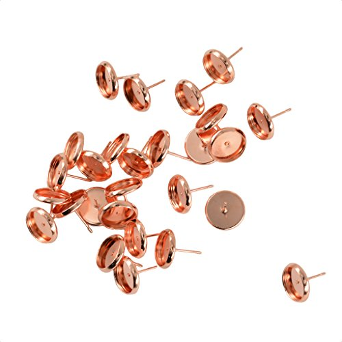 MonkeyJack 24Pcs Round Brass Earring Studs Earrings Blank Base Fit 10mm Cabochons DIY Crafts - Rose Gold ()